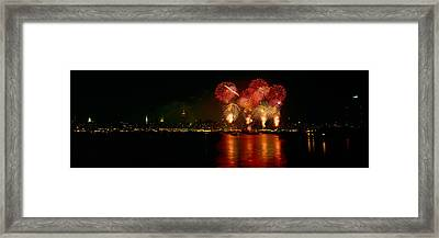 Fireworks Display At Night Framed Print by Panoramic Images