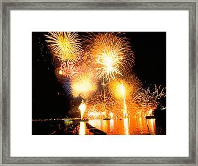 Fireworks Display In Night Framed Print