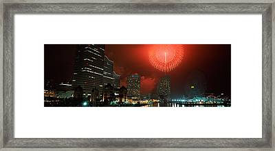 Fireworks Display In The Sky, Minato Framed Print by Panoramic Images