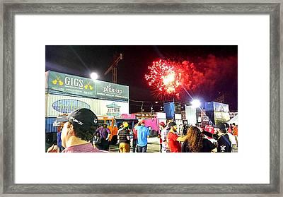 Fireworks Erupt Over The Bullpen Framed Print by Kenny Glover