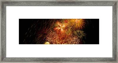 Fireworks Exploding At Night, Luxembourg Framed Print by Panoramic Images
