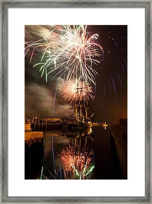 Fireworks Exploding Over Salem's Friendship Framed Print