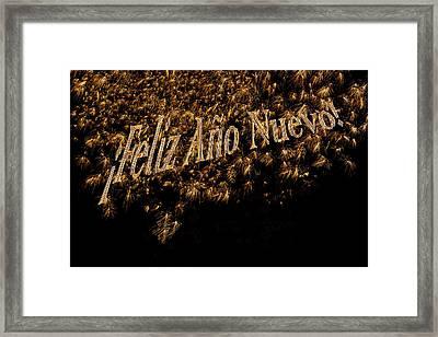 Fireworks Feliz Ano Nuevo In Elegant Gold And Black Framed Print by Marianne Campolongo