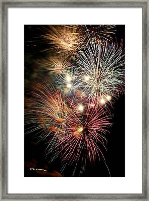 Framed Print featuring the photograph Fireworks Finale At St Albans Bay by R B Harper