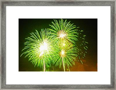 Framed Print featuring the photograph Fireworks Green And White by Robert Hebert