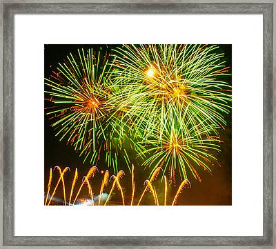 Framed Print featuring the photograph Fireworks Green And Yellow by Robert Hebert