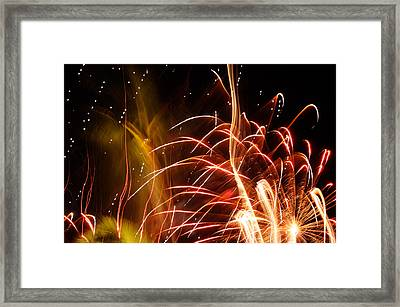 Framed Print featuring the photograph Fireworks Finale  by Haleh Mahbod