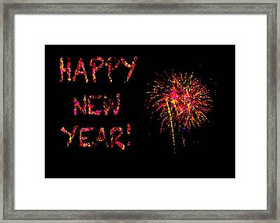 Fireworks Happy New Year In Pink Framed Print by Marianne Campolongo