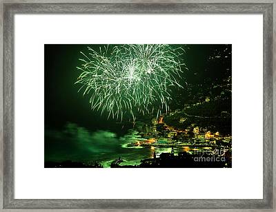 Framed Print featuring the photograph Fireworks Hdr by Antonio Scarpi