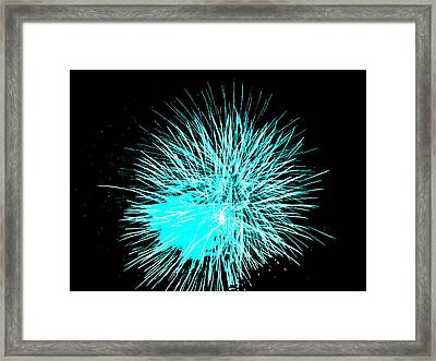 Framed Print featuring the photograph Fireworks In Blue by Michael Porchik