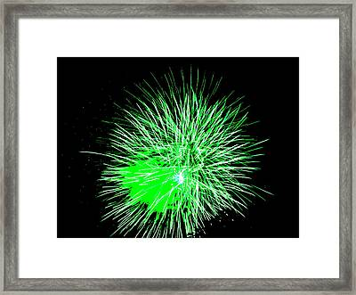 Framed Print featuring the photograph Fireworks In Green by Michael Porchik
