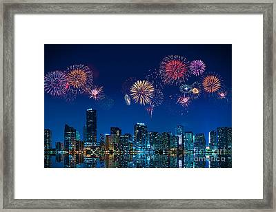 Fireworks In Miami Framed Print