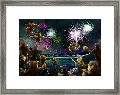 Framed Print featuring the painting Fireworks In Oxboar by Reynold Jay
