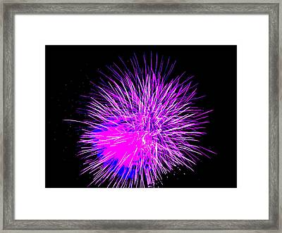 Framed Print featuring the photograph Fireworks In Purple by Michael Porchik