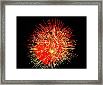 Framed Print featuring the photograph Fireworks In Red And Yellow by Michael Porchik