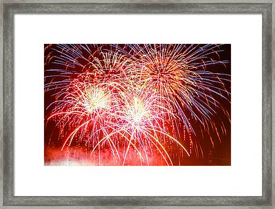 Fireworks In Red White And Blue Framed Print by Robert Hebert