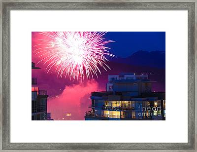 Fireworks In The City Framed Print by Nancy Harrison