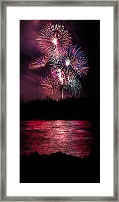Fireworks In The Country - Pink Framed Print by Justin Martinez