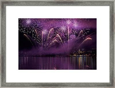 Fireworks Lake Pusiano Framed Print by Roberto Marini