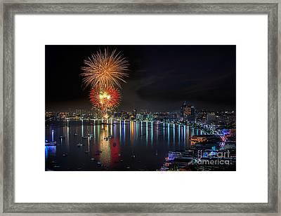 Fireworks New Year Celebration At Pattaya Beach Framed Print