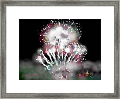 Fireworks On High School Hill Framed Print by Jean Pacheco Ravinski