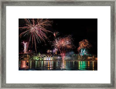 Fireworks On New Years Eve, Reykjavik Framed Print