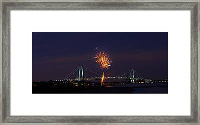 Fireworks On Staten Island South Beach Framed Print