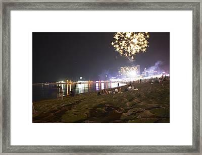 Fireworks On The Beach Framed Print