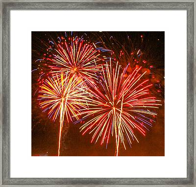 Framed Print featuring the photograph Fireworks Orange And Yellow by Robert Hebert