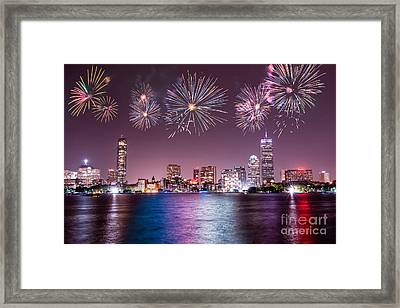 Fireworks Over Boston Framed Print