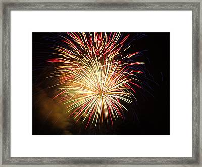 Framed Print featuring the photograph Fireworks Over Chesterbrook by Michael Porchik