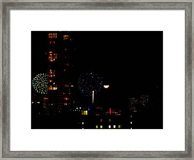 Fireworks Over Miami Moon II Framed Print
