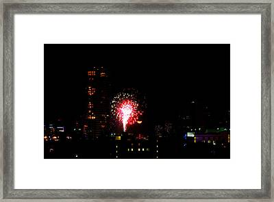 Fireworks Over Miami Moon Framed Print