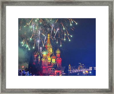 Fireworks Over Red Square Framed Print by Michael Fitzpatrick
