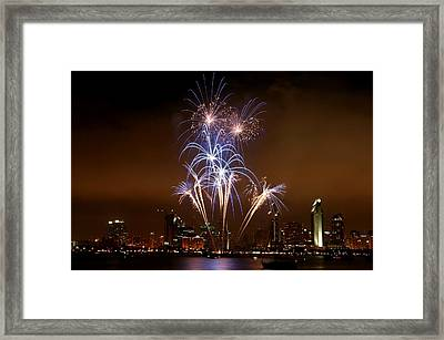Fireworks Over San Diego Skyline Framed Print