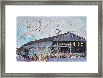 Fireworks Over Schnitzer Steel Framed Print by Asha Carolyn Young