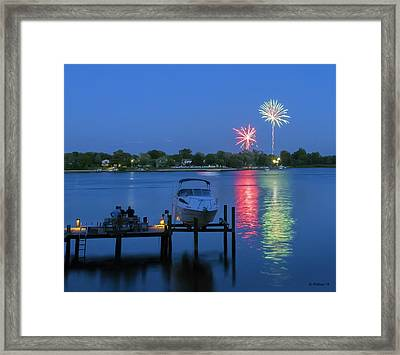 Fireworks Over Stony Creek Framed Print by Brian Wallace