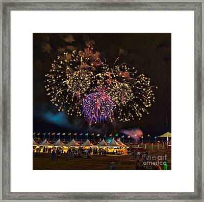 Fireworks Over The Albuquerque Balloon Fiesta Framed Print by Mimi Ditchie