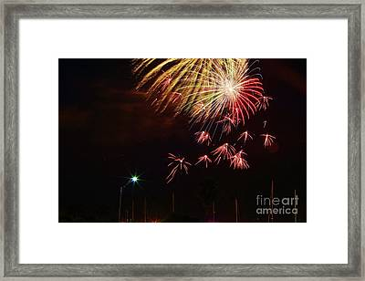 Fireworks Over The Marina Framed Print by Lynda Dawson-Youngclaus