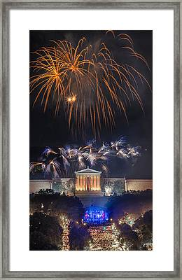 Fireworks Over The Parkway Framed Print by Bruce Neumann