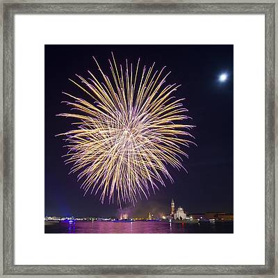 Fireworks Over Venice Framed Print by Science Photo Library