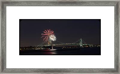 Fireworks Over Verrazano Bridge Framed Print
