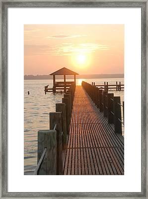 Firey Gulf Pier  Framed Print