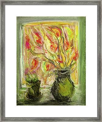 Framed Print featuring the painting Firery Window by Linde Townsend