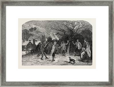 Firing At The Apple Tree, In Devonshire, Uk Framed Print by English School