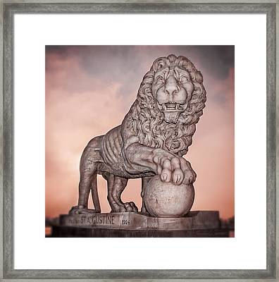 Firm Guarding The Bridge Of Lions Framed Print