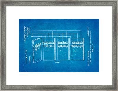 Firman Telephone Exchange Patent Art 1882 Blueprint Framed Print by Ian Monk