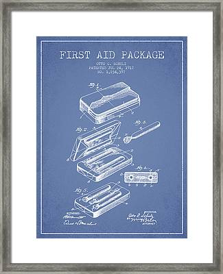 First Aid Package Patent From 1917 - Light Blue Framed Print