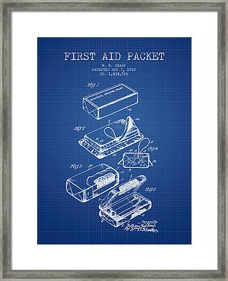 First Aid Packet Patent From 1922 - Blueprint Framed Print