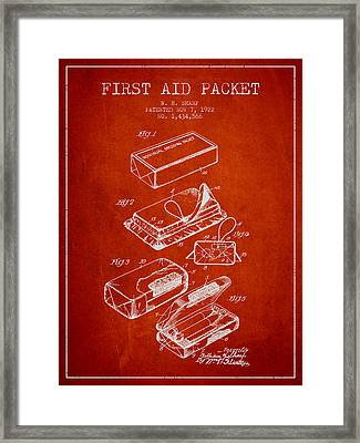 First Aid Packet Patent From 1922 - Red Framed Print